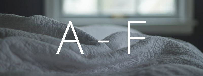 Get definitions for all your bedding needs for letters A-F
