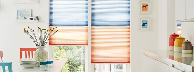 Using two blinds to dress windows means you can have complete control over the level of light in the room, plus you can tailor the look with two colours to suit your decor.