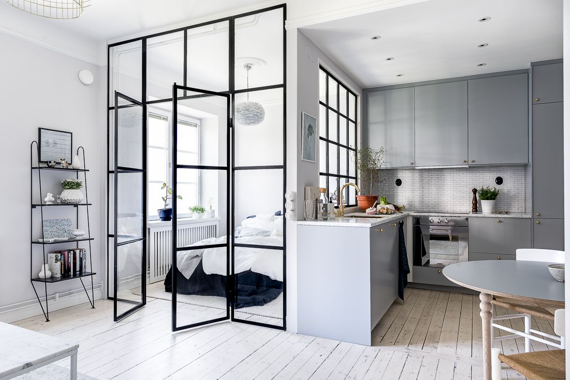 Small apartment with glass doors to let natural light in