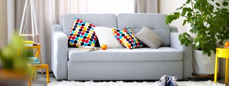 sofa with soft furnishings