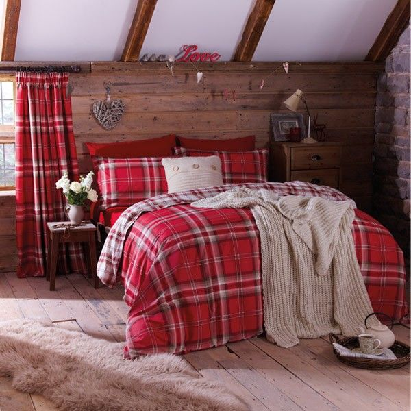 Catherine Lansfield Home Kelso Reversible Tartan Check Duvet Cover Set, Red, Double