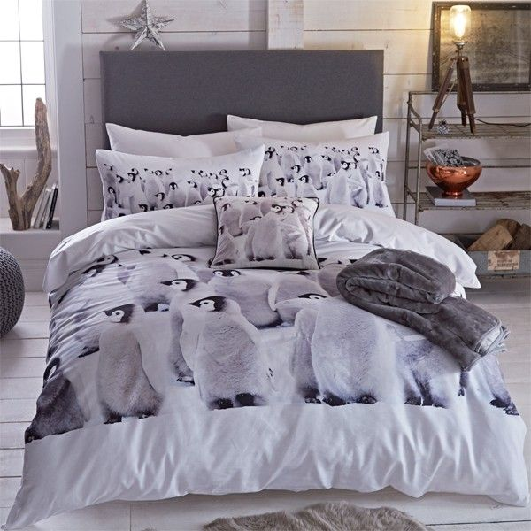 Catherine Lansfield Home Penguins Colony Photographic Panel Duvet Cover Set, Multi, King