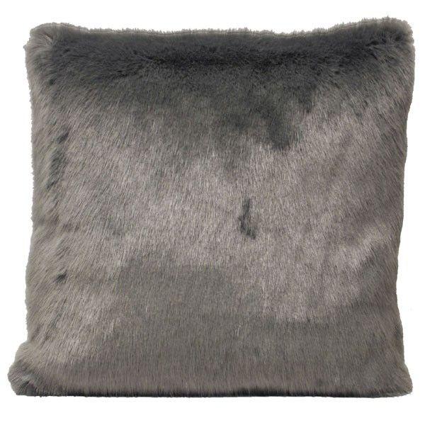 Paoletti Zhivago Luxe Faux Fur Cushion Cover, Silver, 45 x 45 Cm