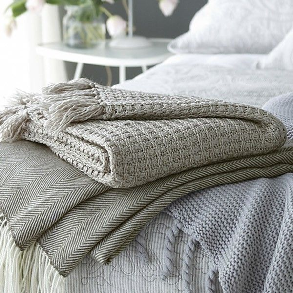 Sashi Bed Linen Georgina Herringbone Twill Fringed Throw, Olive Green, 130 x 150 Cm