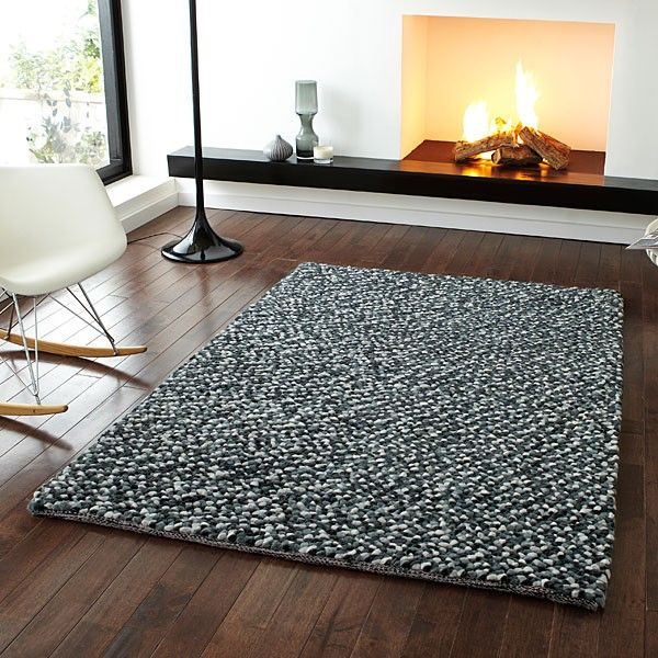 Think Rugs Pebbles Shaggy 100% Wool Indian Hand Knotted Rug, Grey, 150 x 230 Cm