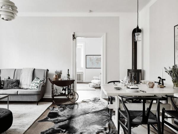 monochrome fur living room