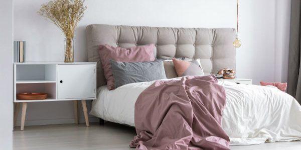 Grey pink bedroom