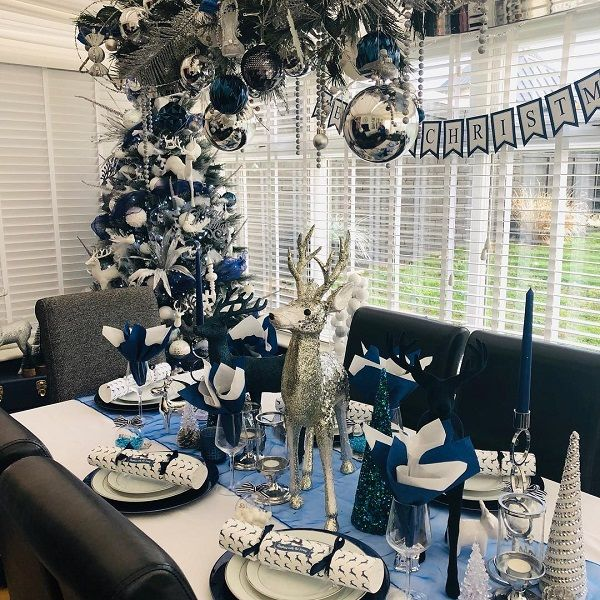Opt for a blue, white and silver theme for your dining area