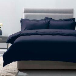 Belledorm 200 Thread Count 100% Egyptian Cotton Duvet Cover, Navy Blue, Super King