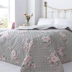 Catherine Lansfield Canterbury Floral Reversible Quilted Bedspread, Grey