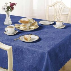 Emma Barclay Damask Rose Tablecloth, Sax Blue