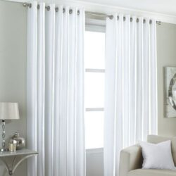 Riva Home Fiji Faux Silk Eyelet Lined Curtains, White