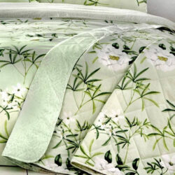 Dreams 'N' Drapes Florence Floral Quilted Bedspread, Green