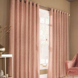 Furn Himalaya Jacquard Eyelet Lined Curtains, Blush Pink