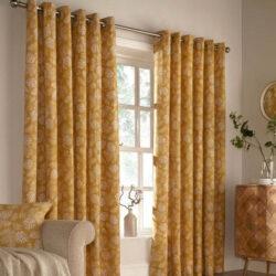 Furn Irwin Woodland Print Eyelet Lined Curtains, Mustard