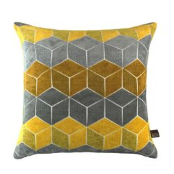 Scatter Box Lennox Velour Feather Filled Cushion, Grey/Yellow
