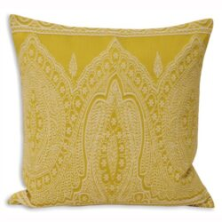 Paoletti Paisley Embellished Cushion Cover, Yellow