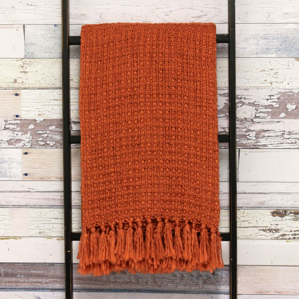 Riva Paoletti Boden Textured Weave Fringed Throw Burnt