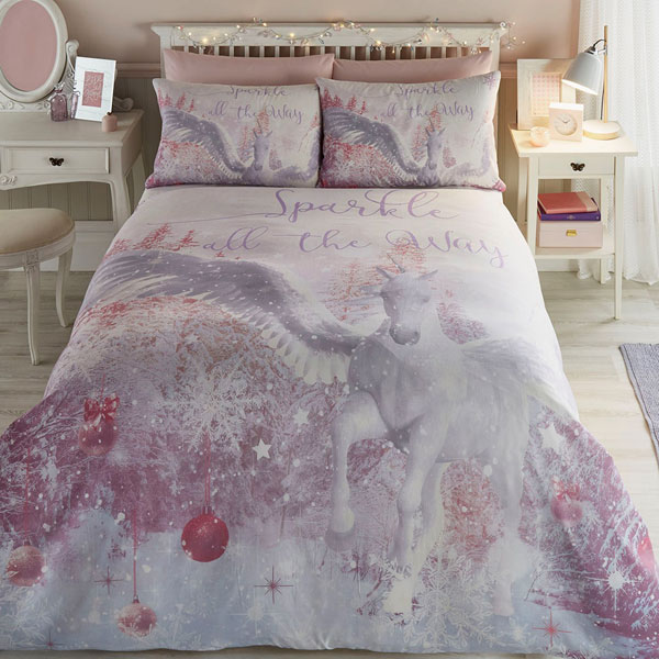 Bedlam Sparkle Unicorn Christmas Duvet Cover Set Pink
